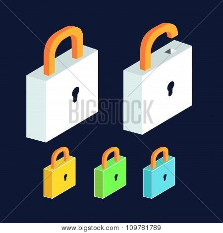 lock icon set. Open and close padlocks. Isometric view flat design.