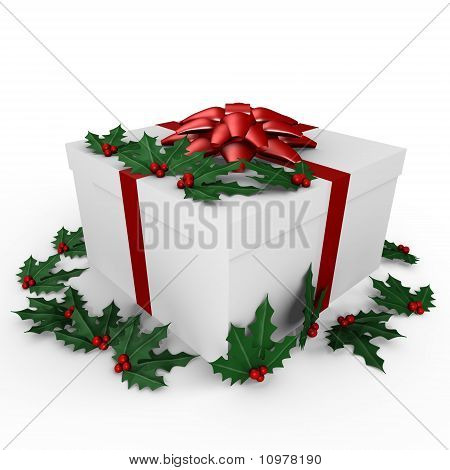 A holiday gift with mistletoe