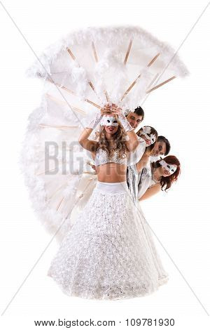 carnival dancers team a mask dancing, isolated on white
