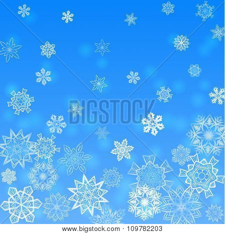 Christmas light blue square background falling snowflakes