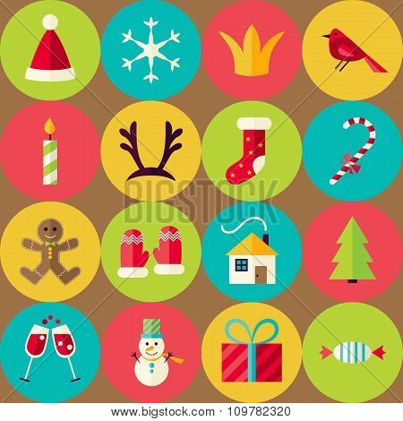 Brown Vector Flat Merry Christmas Seamless Pattern Set With Circles