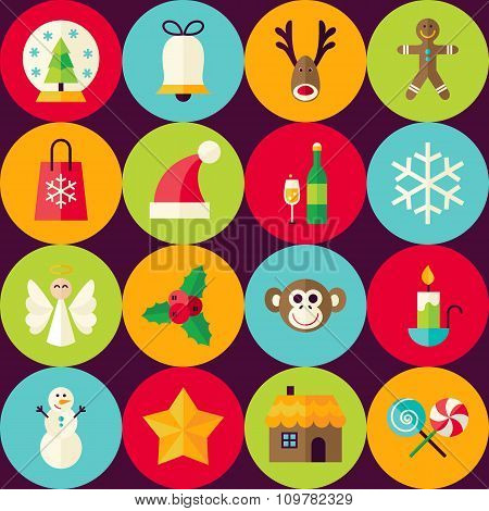 Vector Brown Flat Merry Christmas Seamless Pattern Set With Circles
