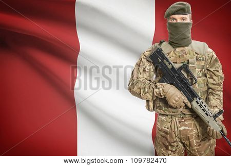 Soldier Holding Machine Gun With Flag On Background Series - Peru