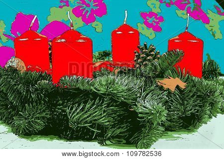 Illustration of advent wreath with red candles