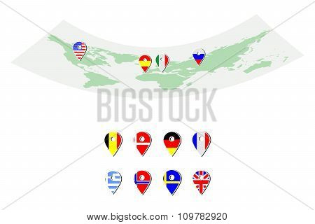 Map And Flags