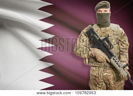 Soldier Holding Machine Gun With Flag On Background Series - Qatar