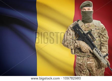 Soldier Holding Machine Gun With Flag On Background Series - Romania
