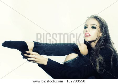 Fashionable Woman In Studio
