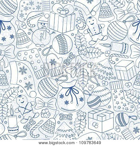 Christmas seamless background with many winter doodles. Greeting card. Toys, cookies, snowmen, fir,