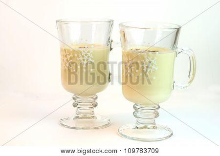 Glasses Of Eggnog Isolated On White Background