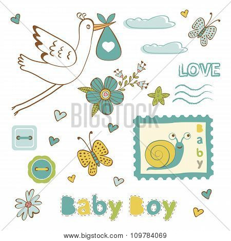 Colorful collection of baby boy announcement graphic elements