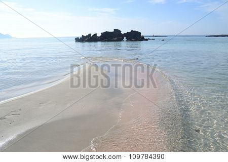 Coast of Crete island in Greece. Sandy beach in famous Elafonisi