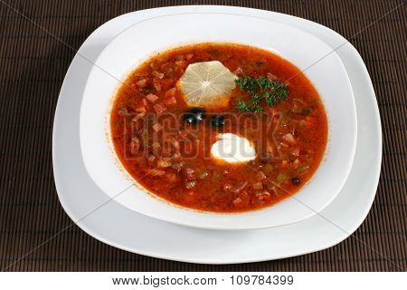 Meat Soup With Sour Cream And Lemon