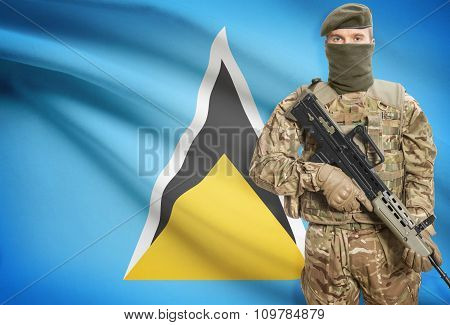 Soldier Holding Machine Gun With Flag On Background Series - Saint Lucia