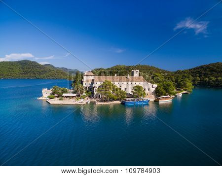 Aerial view of Monastery of Saint Mary on Mljet island, Croatia.