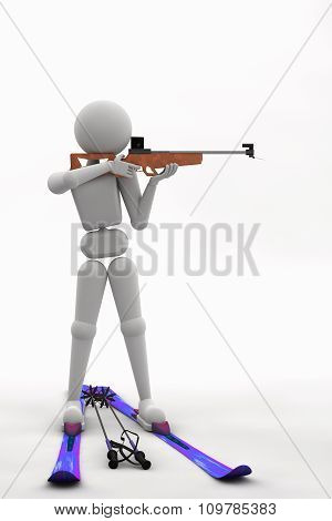 Biathlete Standing Aiming At A Target