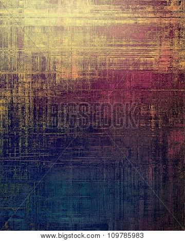 Old grunge background with delicate abstract texture and different color patterns: yellow (beige); brown; blue; purple (violet)