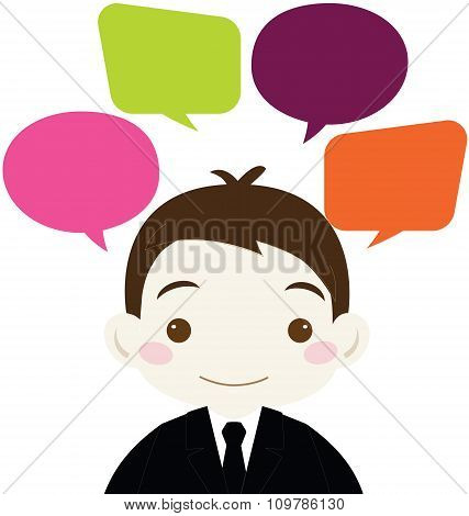 Cute Businessman With Colorful Blank Speech Bubble