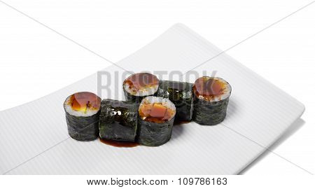 Traditional japanese avocado sushi roll.