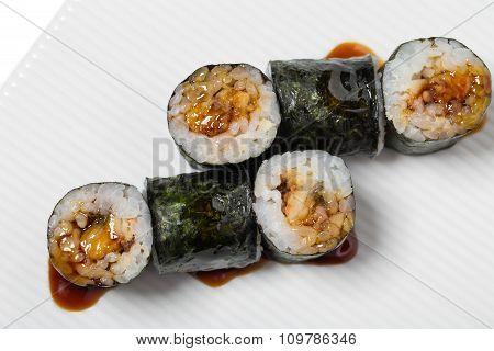 Traditional japanese maki unagi roll.