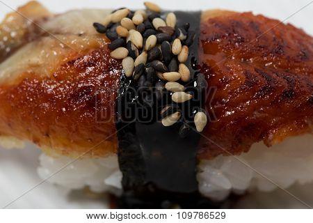 Traditional unagi nigiri sushi.