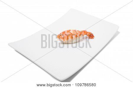 Traditional tiger shrimp nigiri sushi.