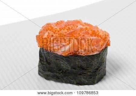 Gunkan sushi with salmon.