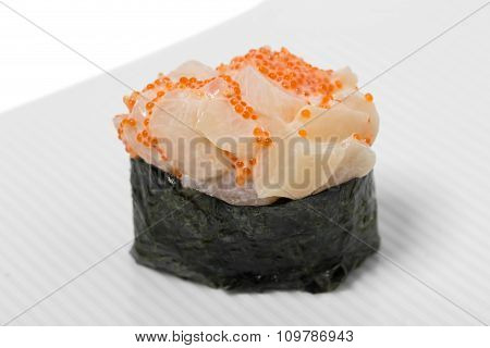 Gunkan sushi with scallop.