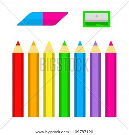 Set Of Colored Pencils With Sharpener And Eraser In Flat Style Isolated On White Background