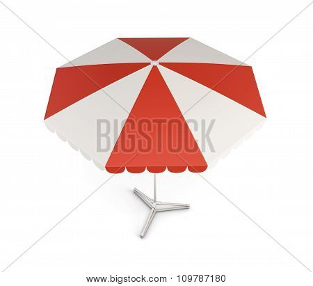 Beach Umbrella With Red Stripes. 3D Illustration.