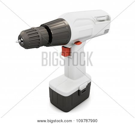 White Screwdriver With Battery. 3D.