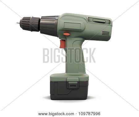Screwdriver With Battery Side View. 3D.
