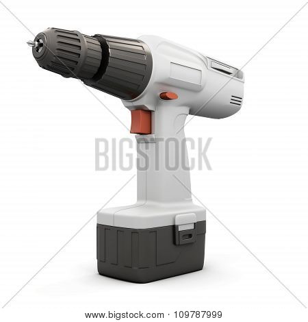 Electric Screwdriver Isolated On White Bcakground. 3D.
