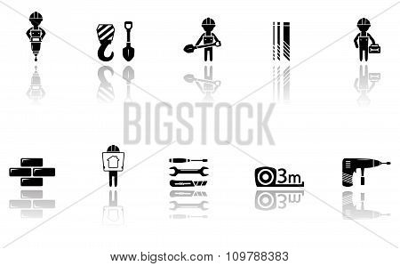 set of construction icons with tools