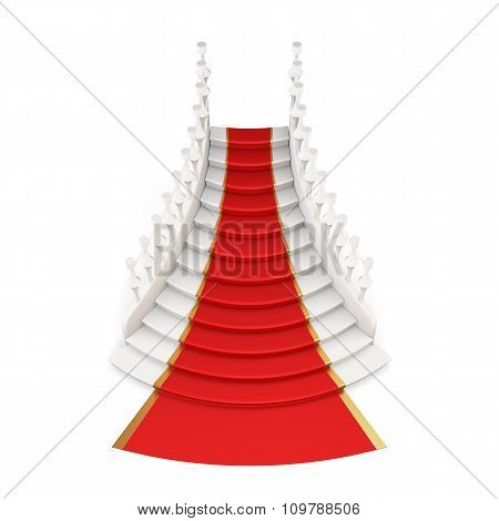 Staircase With Red Carpet Isolated On White Background. 3D.