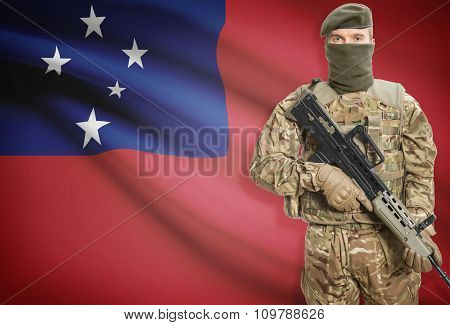 Soldier Holding Machine Gun With Flag On Background Series - Samoa