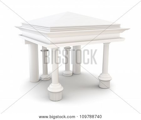 Entrance With Columns. 3D Rendering.