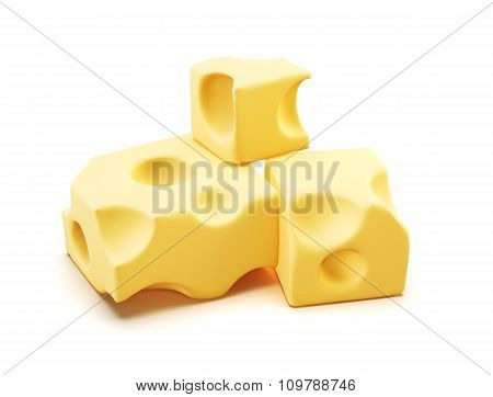Piece Of Cheese. 3D.