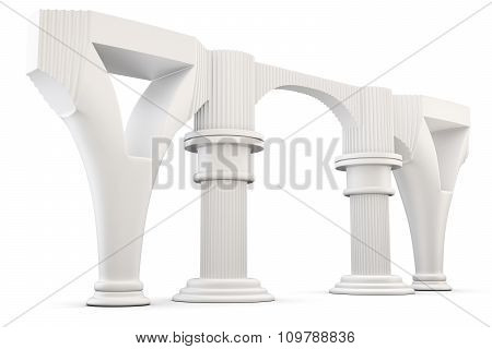 Column Arc Isolated On White Background. 3D Rendering.