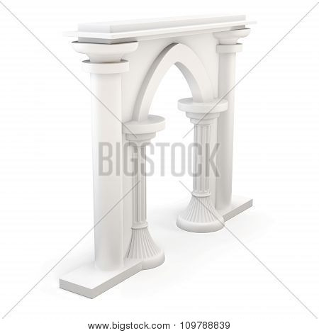 Entrance With Columns Isolated On White Background. 3D.