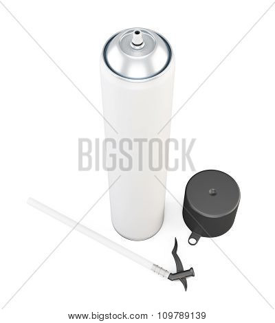 White Tube With Black Cap Has Foam On A White Background. 3D.