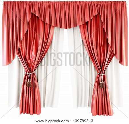 Red Curtain With Pelmet Isolated On A White Background. 3D.