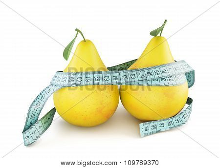 Pears With Meter Tape Isolated On White Background. 3D.