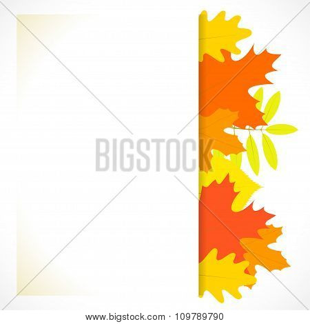 Greeting Card With Autumn Leaves On The Background, In Vector