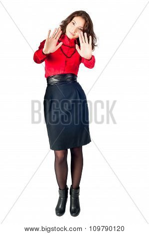 Attractive girl with stop gesture