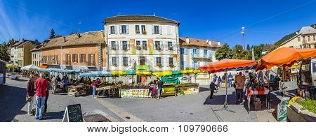 People At Weekly Local Market In Seyne, France