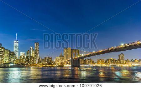 Manhattan Waterfront At Night