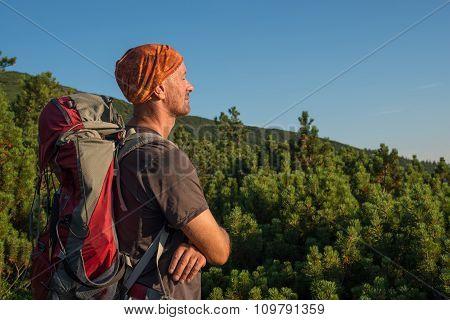 Relaxing hiker