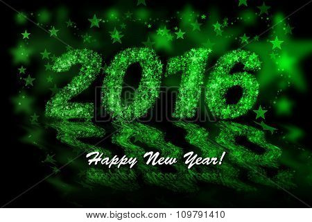 Happy New Year 2016. Green Stars Background With Bokeh Effect