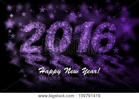 Happy New Year 2016. Purple Stars Background With Bokeh Effect